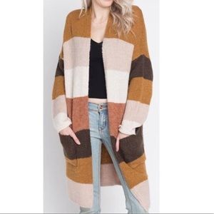 Dreamers long duster cardigan wide stripe pockets
